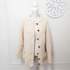 Aran crafts size L wool knitted chunky cardigan